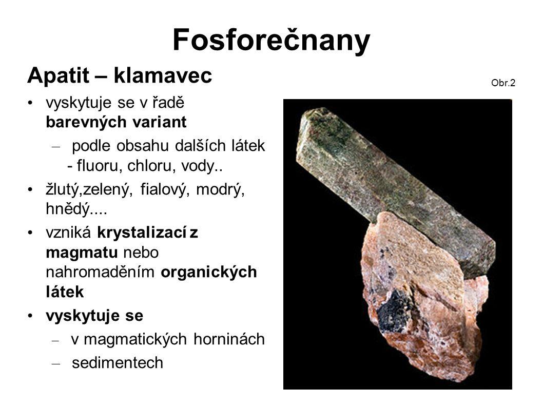 Fosforečnany Apatit využití: – k výrobě fosforu – k výrobě kyseliny fosforečné – k výrobě umělých hnojiv – šperkařství je obsažen v kostech, zubech Obr.4 Krystaly apatitu Obr.3 Obr.5 Modrý apatit ;Obr.6