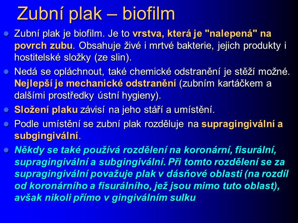 Zubní plak – biofilm Zubní plak je biofilm. Je to vrstva, která je nalepená na povrch zubu.