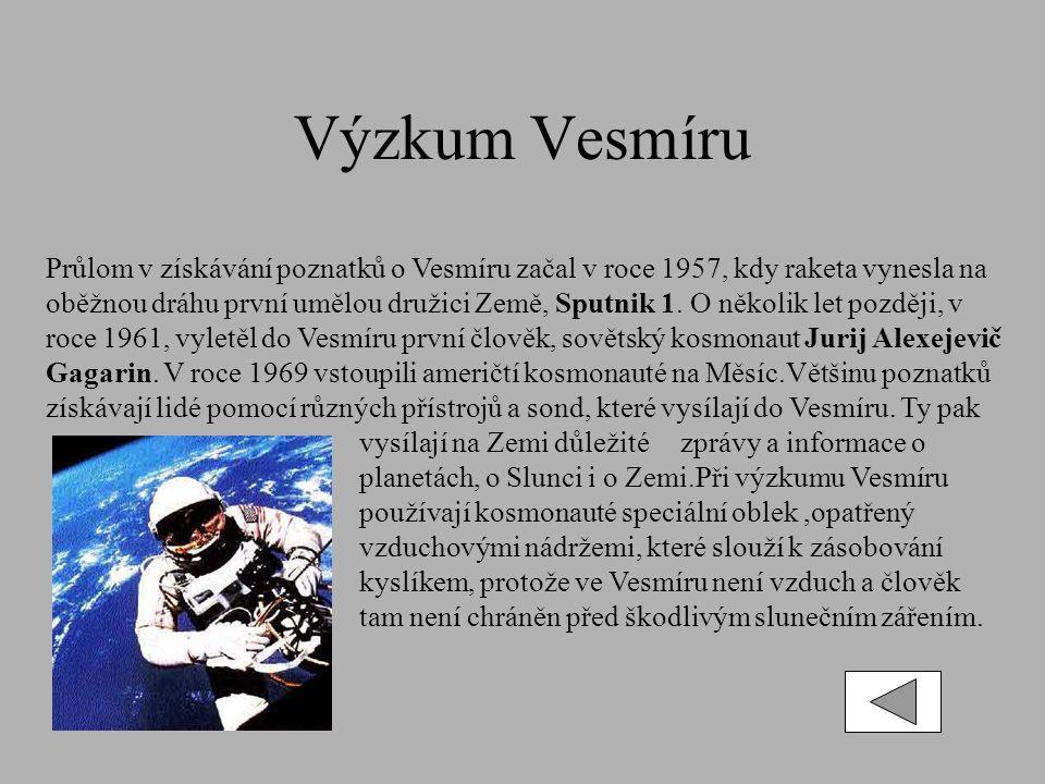 Výzkum Vesmíru Průlom v získávání poznatků o Vesmíru začal v roce 1957, kdy raketa vynesla na oběžnou dráhu první umělou družici Země, Sputnik 1.