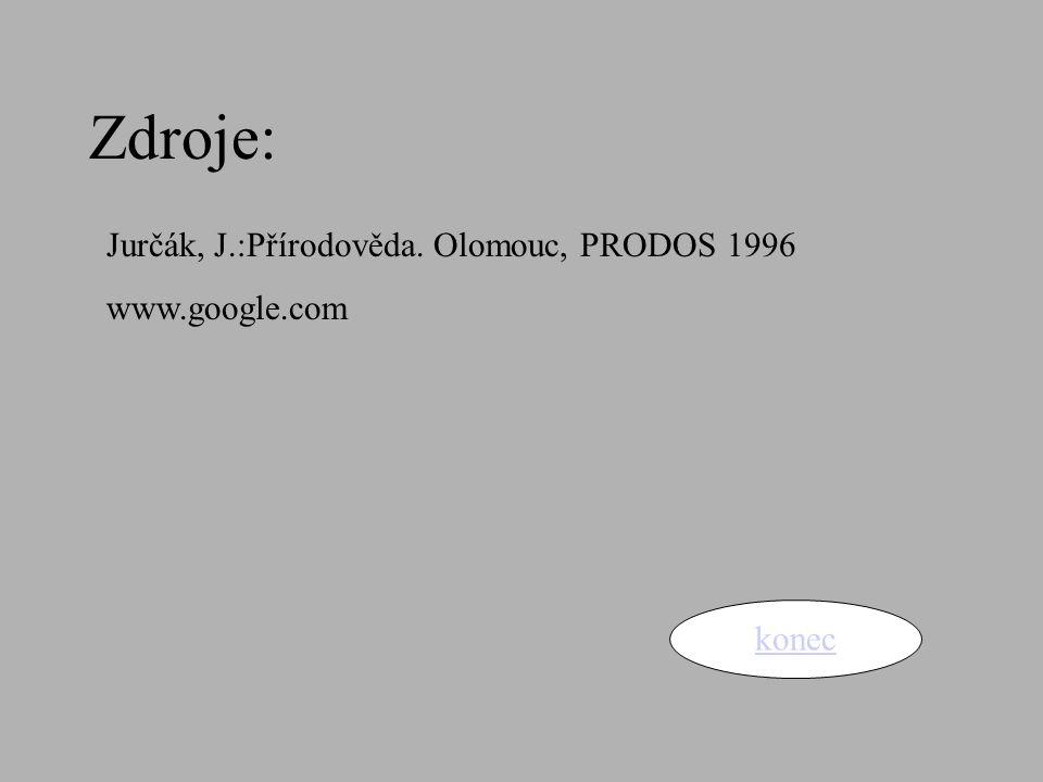 Zdroje: konec Jurčák, J.:Přírodověda. Olomouc, PRODOS 1996 www.google.com