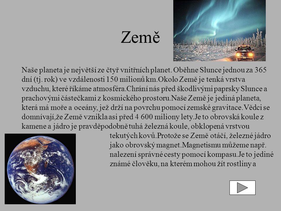 Země Naše planeta je největší ze čtyř vnitřních planet.