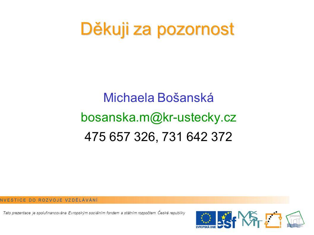 10 Děkuji za pozornost Michaela Bošanská bosanska.m@kr-ustecky.cz 475 657 326, 731 642 372 Tato prezentace je spolufinancována Evropským sociálním fon