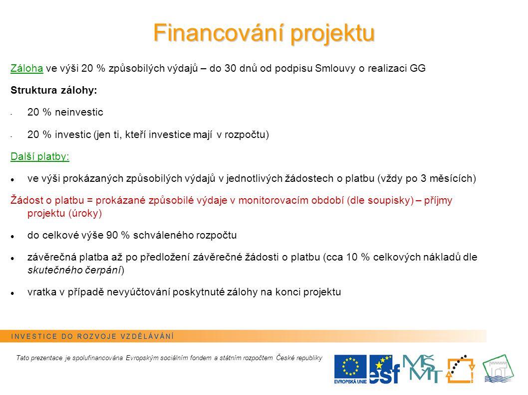 6 Financování projektu Tato prezentace je spolufinancována Evropským sociálním fondem a státním rozpočtem České republiky Záloha ve výši 20 % způsobil