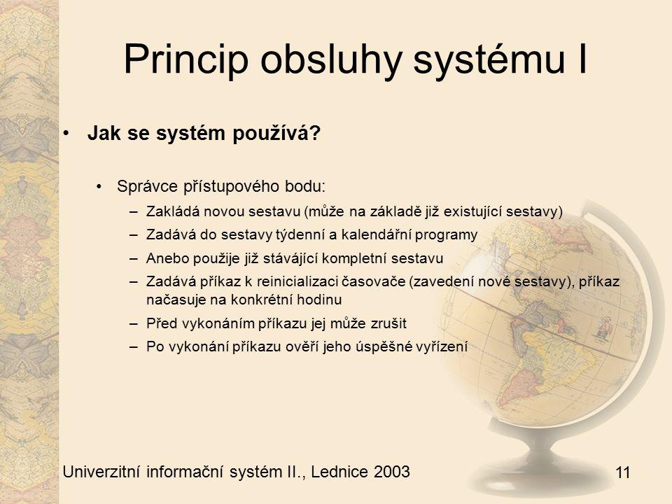 11 Univerzitní informační systém II., Lednice 2003 Princip obsluhy systému I Jak se systém používá.