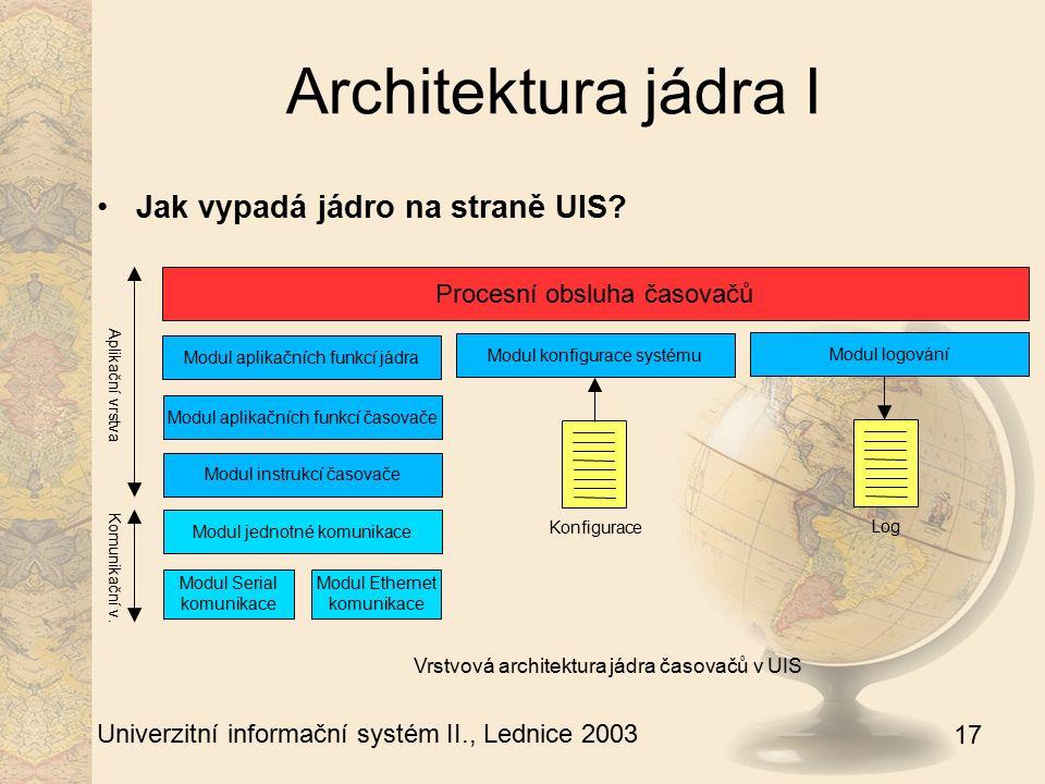 17 Univerzitní informační systém II., Lednice 2003 Architektura jádra I Jak vypadá jádro na straně UIS? Procesní obsluha časovačů Modul aplikačních fu