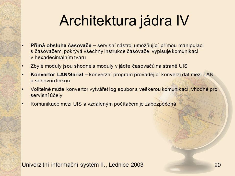 20 Univerzitní informační systém II., Lednice 2003 Architektura jádra IV Přímá obsluha časovače – servisní nástroj umožňující přímou manipulaci s časo