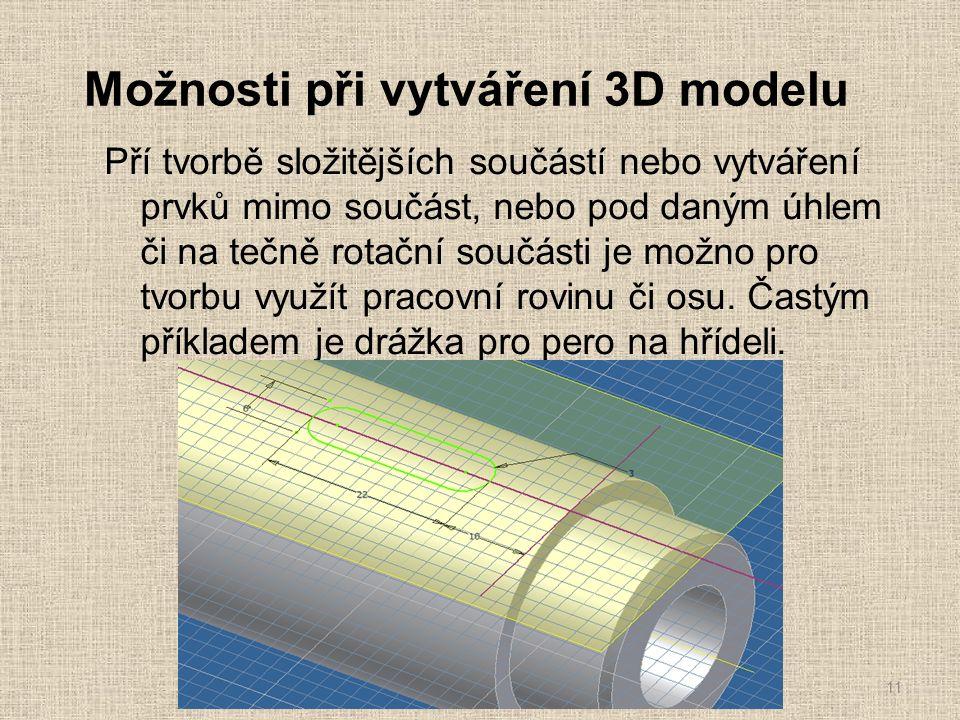 Možnosti při vytváření 3D modelu Pří tvorbě složitějších součástí nebo vytváření prvků mimo součást, nebo pod daným úhlem či na tečně rotační součásti je možno pro tvorbu využít pracovní rovinu či osu.