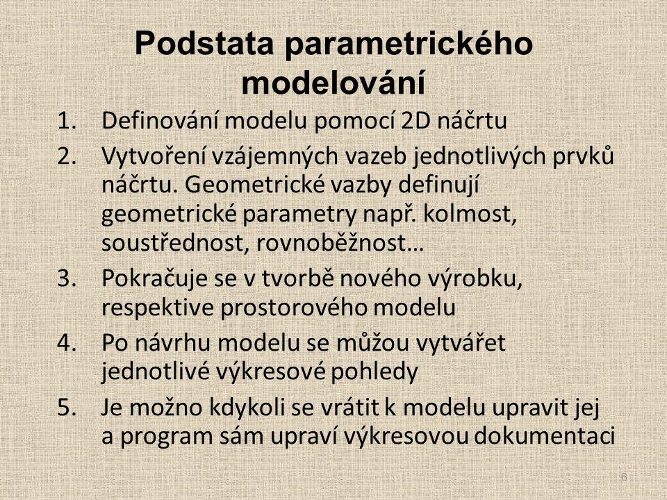 1.Definování modelu pomocí 2D náčrtu 2.Vytvoření vzájemných vazeb jednotlivých prvků náčrtu. Geometrické vazby definují geometrické parametry např. ko