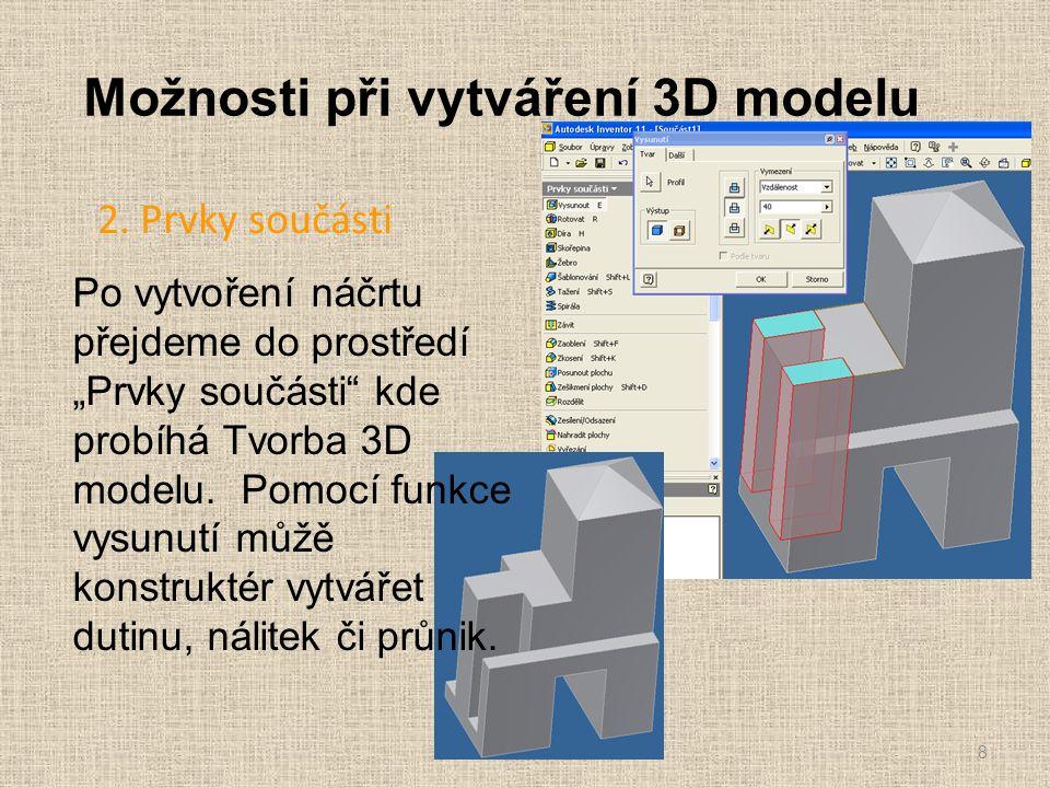 """Možnosti při vytváření 3D modelu 2. Prvky součásti 8 Po vytvoření náčrtu přejdeme do prostředí """"Prvky součásti"""" kde probíhá Tvorba 3D modelu. Pomocí f"""