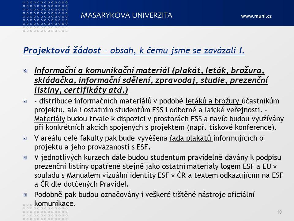 Projektová žádost - obsah, k čemu jsme se zavázali I. Informační a komunikační materiál (plakát, leták, brožura, skládačka, informační sdělení, zpravo