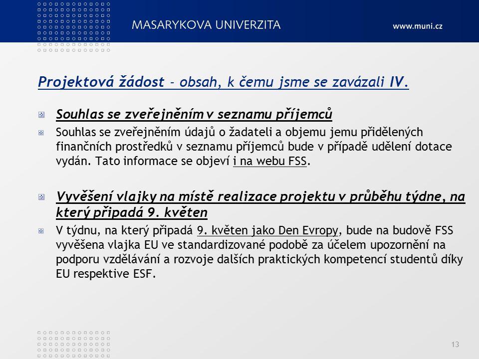 Projektová žádost - obsah, k čemu jsme se zavázali IV. Souhlas se zveřejněním v seznamu příjemců Souhlas se zveřejněním údajů o žadateli a objemu jemu