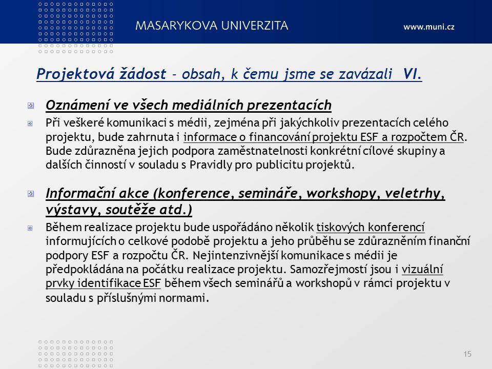 Projektová žádost - obsah, k čemu jsme se zavázali VI. Oznámení ve všech mediálních prezentacích Při veškeré komunikaci s médii, zejména při jakýchkol