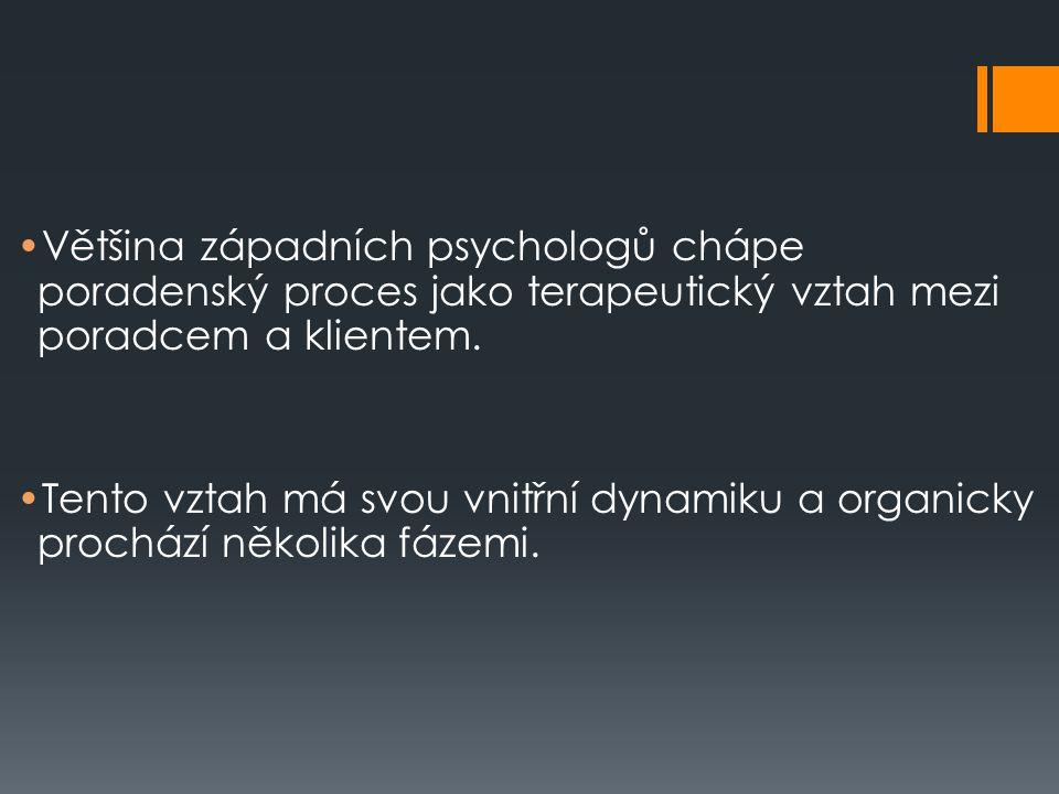 Většina západních psychologů chápe poradenský proces jako terapeutický vztah mezi poradcem a klientem.
