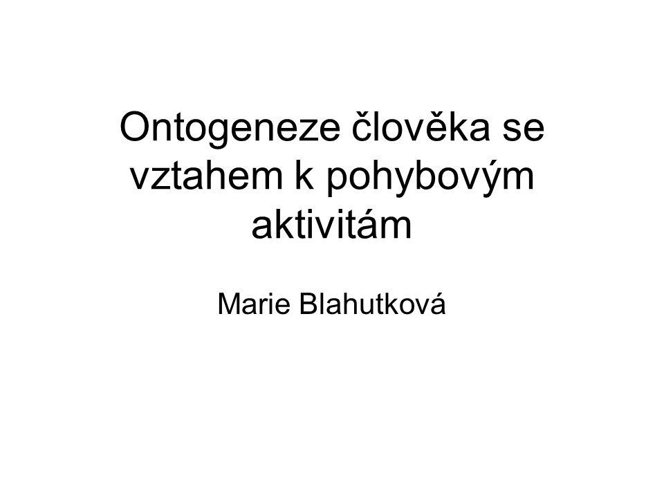 Ontogeneze člověka se vztahem k pohybovým aktivitám Marie Blahutková