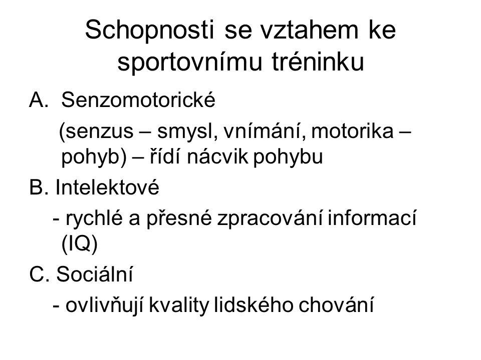 Schopnosti se vztahem ke sportovnímu tréninku A.Senzomotorické (senzus – smysl, vnímání, motorika – pohyb) – řídí nácvik pohybu B.