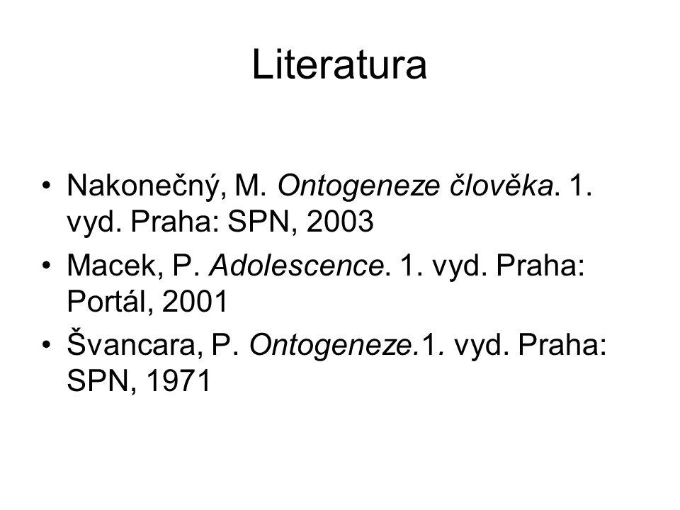 Literatura Nakonečný, M. Ontogeneze člověka. 1. vyd.