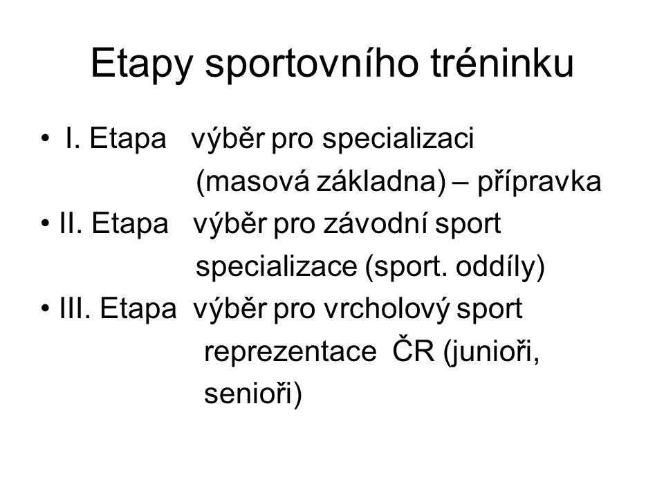 Výběr sportovních talentů 1.Přirozený – spontánní (bez přesných kritérií) 2.Empirický – zkušenostní (stanovují trenéři) 3.Profesiografický – přesně stanovená kritéria 4.Experimentální – sledovaný soubor zůstává stejný po dobu experimentu 5.Retrospektivní – předpoklad schopností