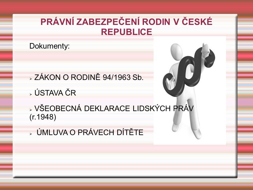PRÁVNÍ ZABEZPEČENÍ RODIN V ČESKÉ REPUBLICE Dokumenty:  ZÁKON O RODINĚ 94/1963 Sb.