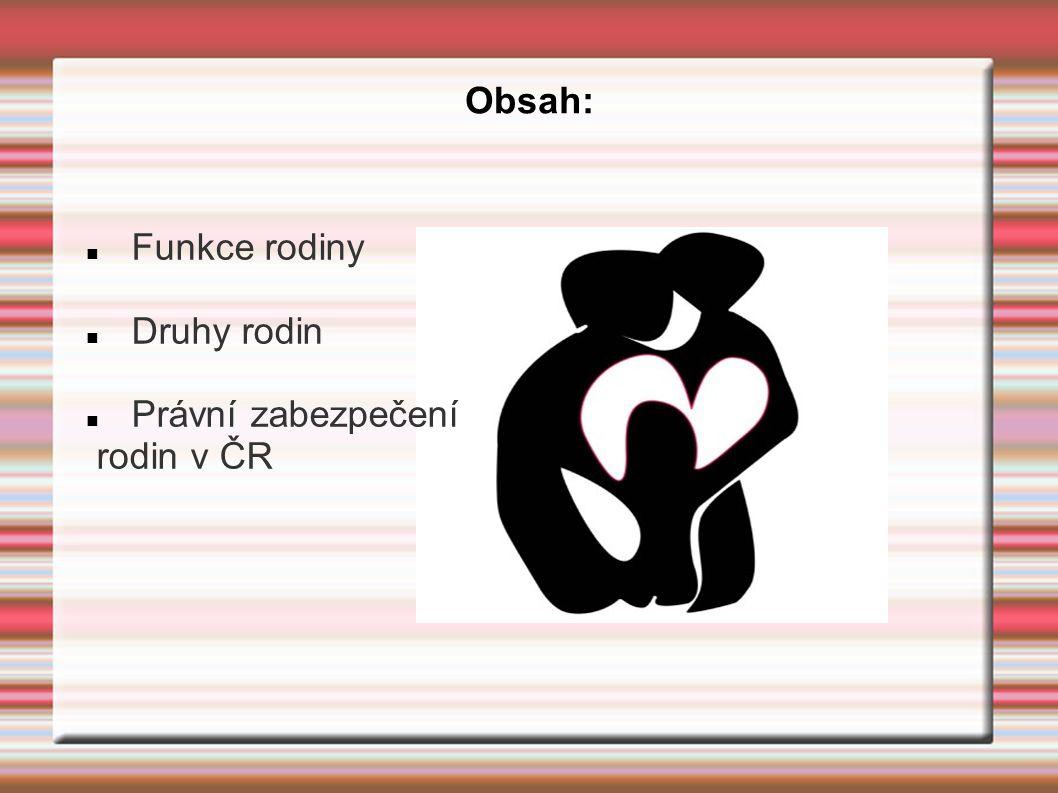 Obsah: Funkce rodiny Druhy rodin Právní zabezpečení rodin v ČR