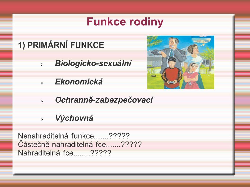 Funkce rodiny 1) PRIMÁRNÍ FUNKCE  Biologicko-sexuální  Ekonomická  Ochranně-zabezpečovací  Výchovná Nenahraditelná funkce.......????.