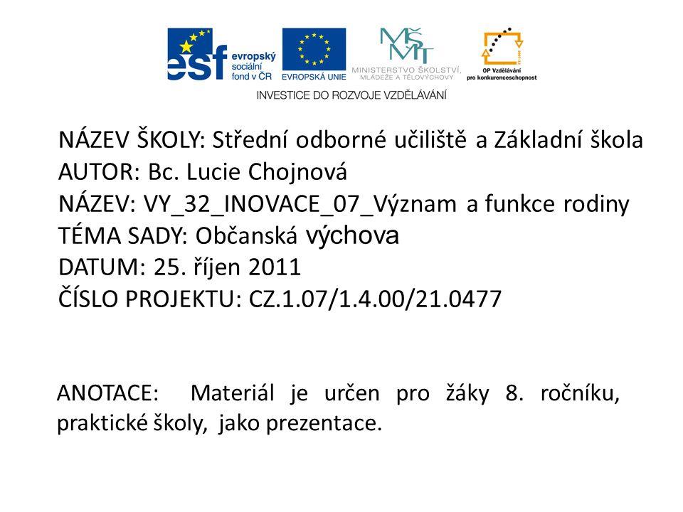 NÁZEV ŠKOLY: Střední odborné učiliště a Základní škola AUTOR: Bc.