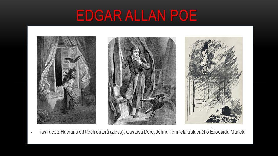 EDGAR ALLAN POE ilustrace z Havrana od třech autorů (zleva): Gustava Dore, Johna Tenniela a slavného Édouarda Maneta