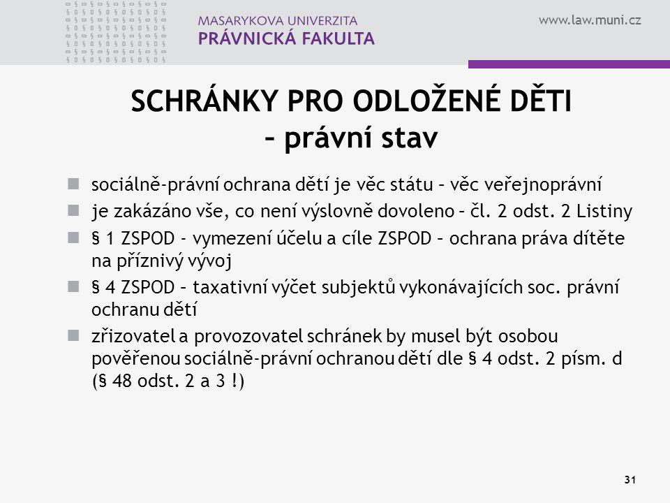 www.law.muni.cz 31 SCHRÁNKY PRO ODLOŽENÉ DĚTI – právní stav sociálně-právní ochrana dětí je věc státu – věc veřejnoprávní je zakázáno vše, co není výslovně dovoleno – čl.
