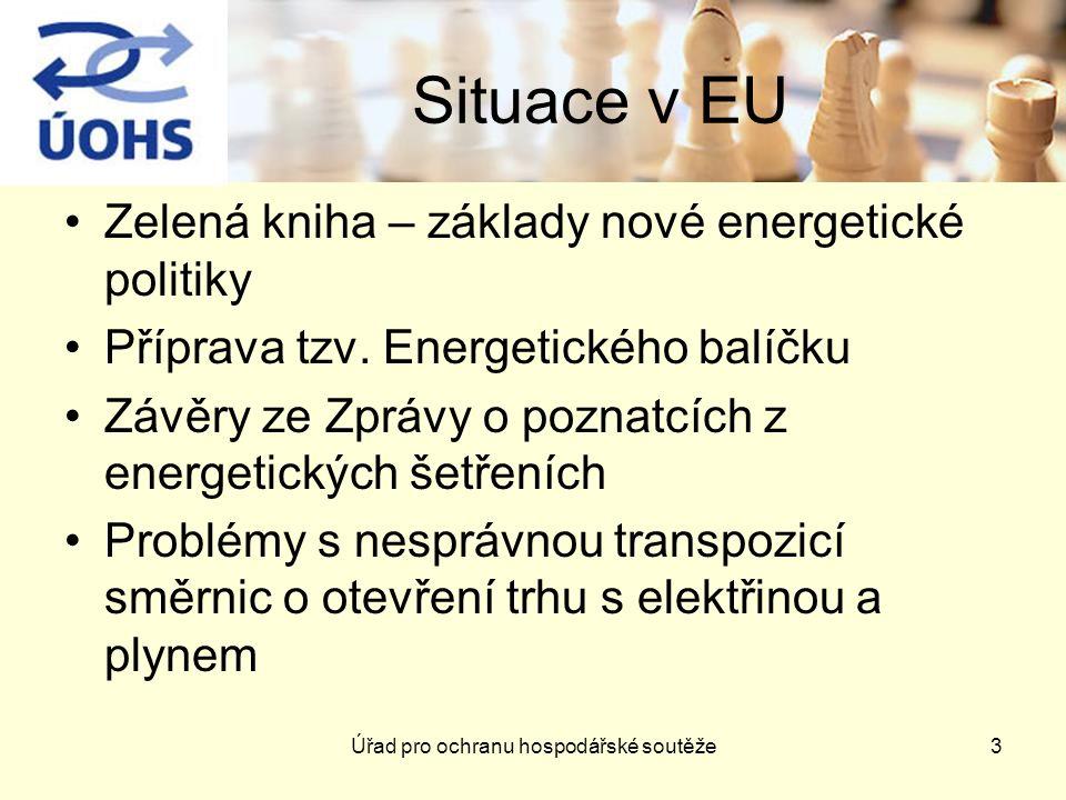 Úřad pro ochranu hospodářské soutěže3 Situace v EU Zelená kniha – základy nové energetické politiky Příprava tzv.