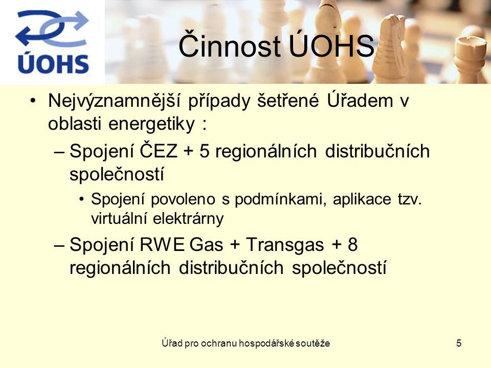 Úřad pro ochranu hospodářské soutěže6 Činnost ÚOHS –Vertikální dohoda o zákazu zpětného dovozu elektřiny –Zneužití dominantního postavení společností RWE Transgas