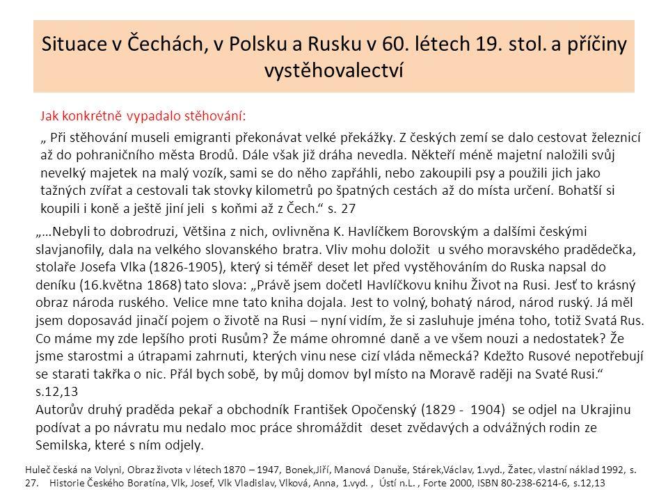Situace v Čechách, v Polsku a Rusku v 60. létech 19.