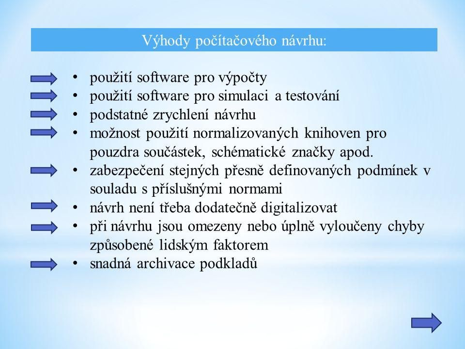 Výhody počítačového návrhu: použití software pro výpočty použití software pro simulaci a testování podstatné zrychlení návrhu možnost použití normaliz