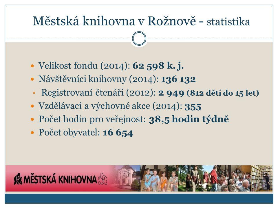 Městská knihovna v Rožnově - statistika Velikost fondu (2014): 62 598 k.
