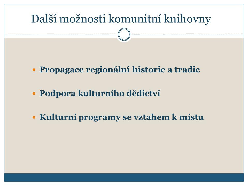 Další možnosti komunitní knihovny Propagace regionální historie a tradic Podpora kulturního dědictví Kulturní programy se vztahem k místu
