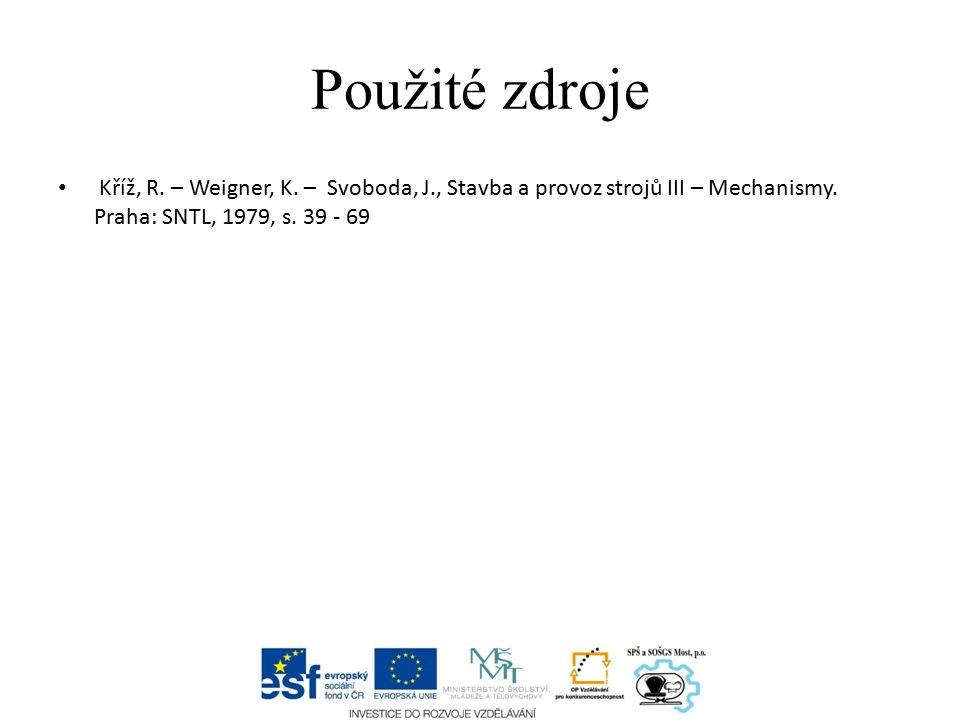 Použité zdroje Kříž, R. – Weigner, K. – Svoboda, J., Stavba a provoz strojů III – Mechanismy.
