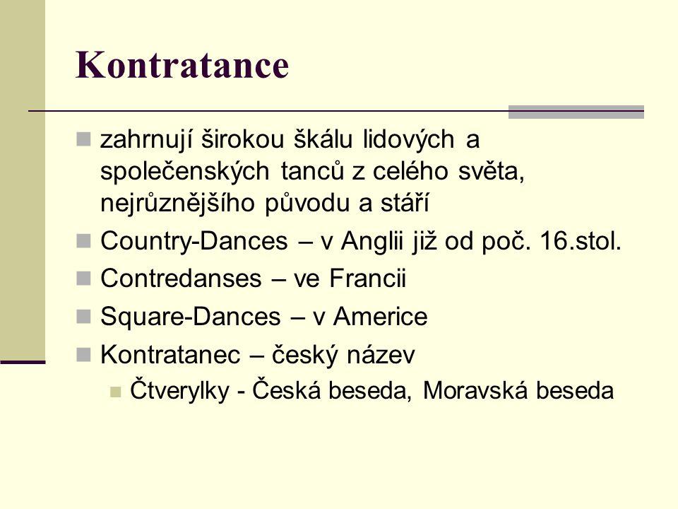 """Dělení kontratanců Párové (někdy i trojice – CH a 2 D) Kruhové (""""cirkle ) Řadové (""""longways ) Čtverylky (""""square ), tančí 2 nebo 4 páry"""