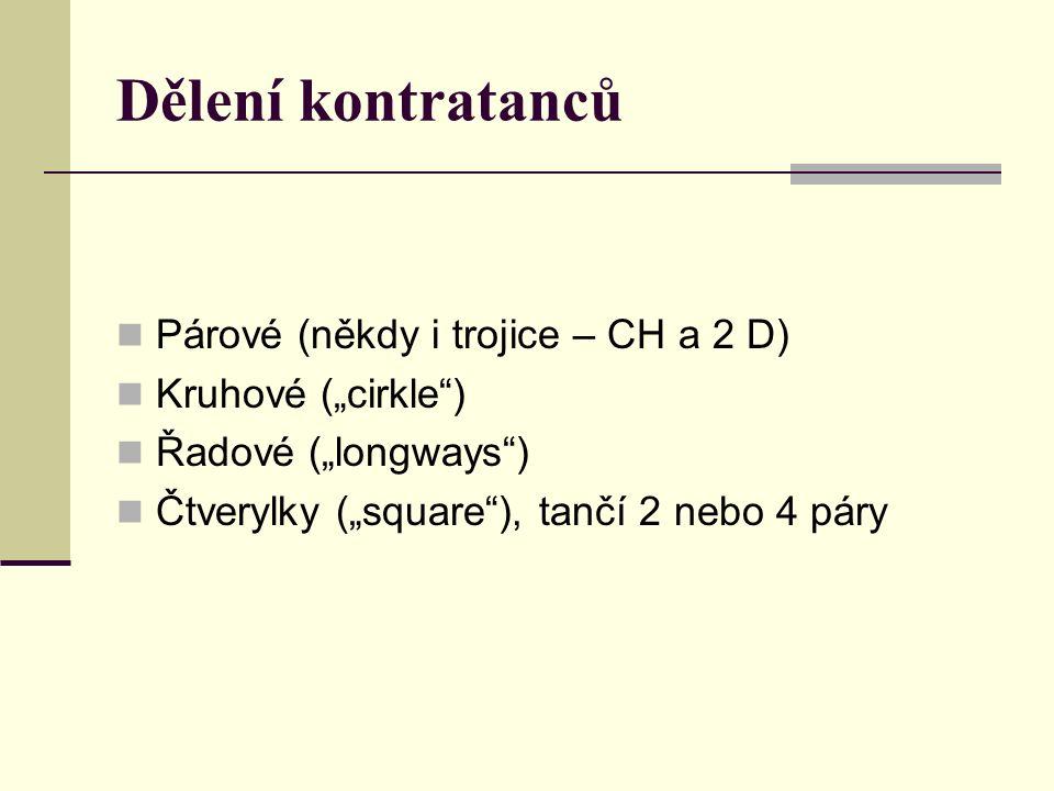 """Dělení kontratanců Párové (někdy i trojice – CH a 2 D) Kruhové (""""cirkle"""") Řadové (""""longways"""") Čtverylky (""""square""""), tančí 2 nebo 4 páry"""