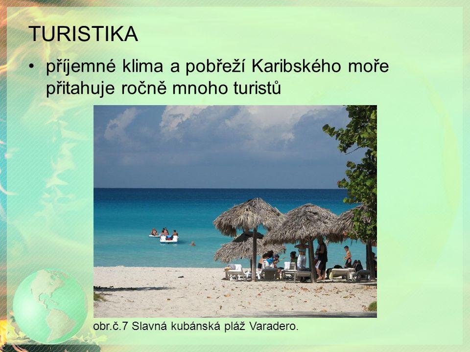 TURISTIKA příjemné klima a pobřeží Karibského moře přitahuje ročně mnoho turistů obr.č.7 Slavná kubánská pláž Varadero.