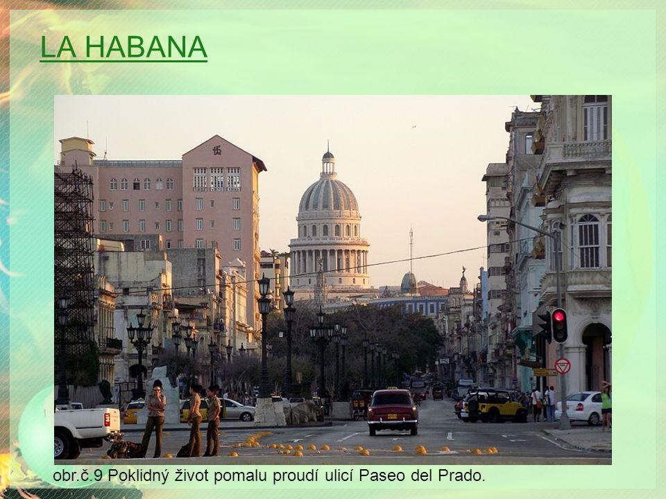 LA HABANA obr.č.9 Poklidný život pomalu proudí ulicí Paseo del Prado.