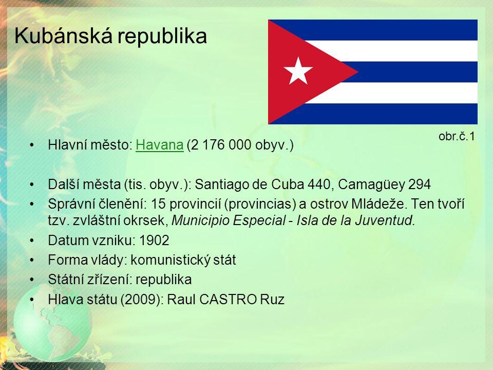Kubánská republika Hlavní město: Havana (2 176 000 obyv.)Havana Další města (tis.
