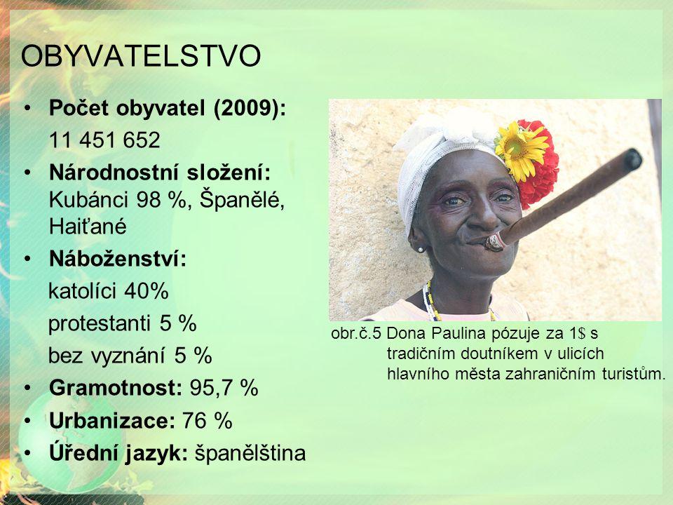 OBYVATELSTVO Počet obyvatel (2009): 11 451 652 Národnostní složení: Kubánci 98 %, Španělé, Haiťané Náboženství: katolíci 40% protestanti 5 % bez vyznání 5 % Gramotnost: 95,7 % Urbanizace: 76 % Úřední jazyk: španělština obr.č.5 Dona Paulina pózuje za 1 $ s tradičním doutníkem v ulicích hlavního města zahraničním turistům.
