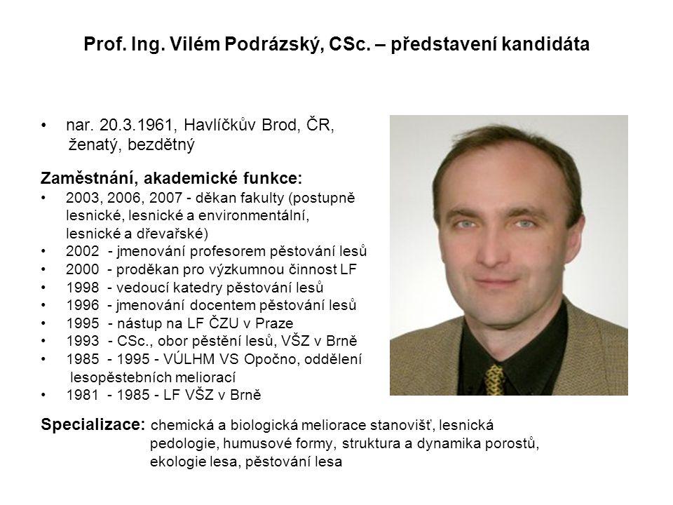 Prof. Ing. Vilém Podrázský, CSc. – představení kandidáta nar.