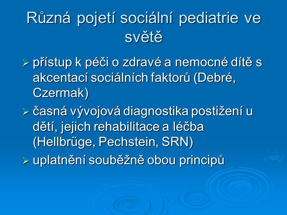 Různá pojetí sociální pediatrie ve světě  přístup k péči o zdravé a nemocné dítě s akcentací sociálních faktorů (Debré, Czermak)  časná vývojová diagnostika postižení u dětí, jejich rehabilitace a léčba (Hellbrüge, Pechstein, SRN)  uplatnění souběžně obou principů