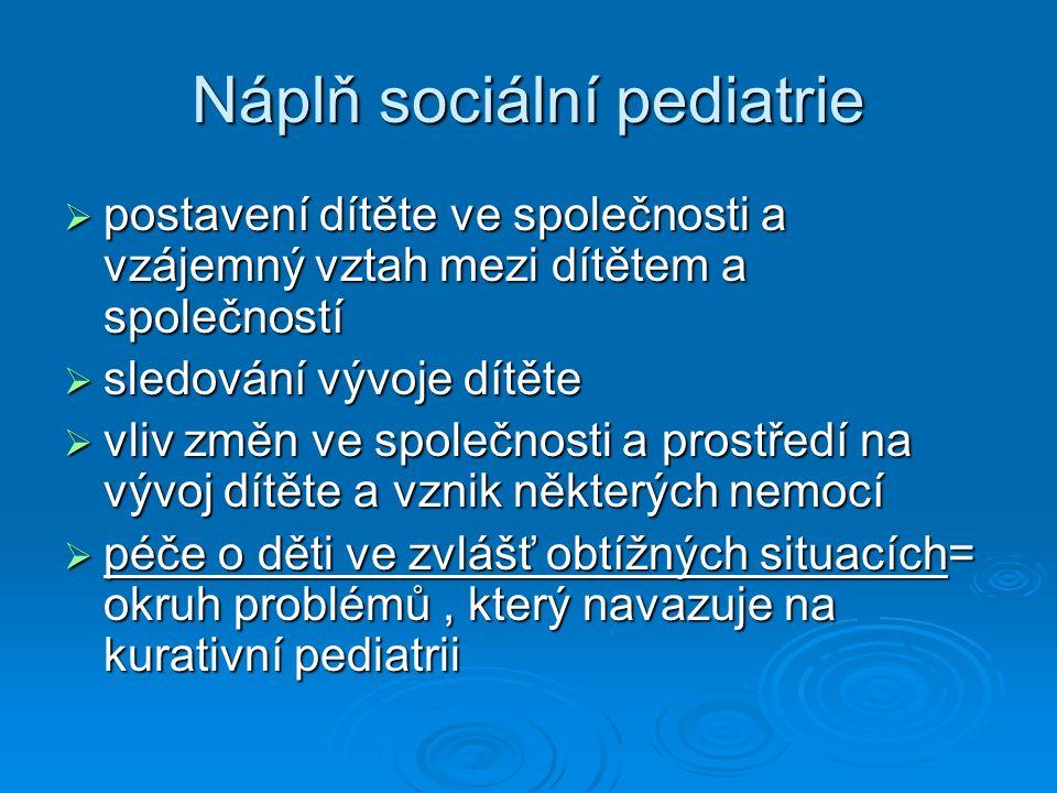 Náplň sociální pediatrie  postavení dítěte ve společnosti a vzájemný vztah mezi dítětem a společností  sledování vývoje dítěte  vliv změn ve společnosti a prostředí na vývoj dítěte a vznik některých nemocí  péče o děti ve zvlášť obtížných situacích= okruh problémů, který navazuje na kurativní pediatrii