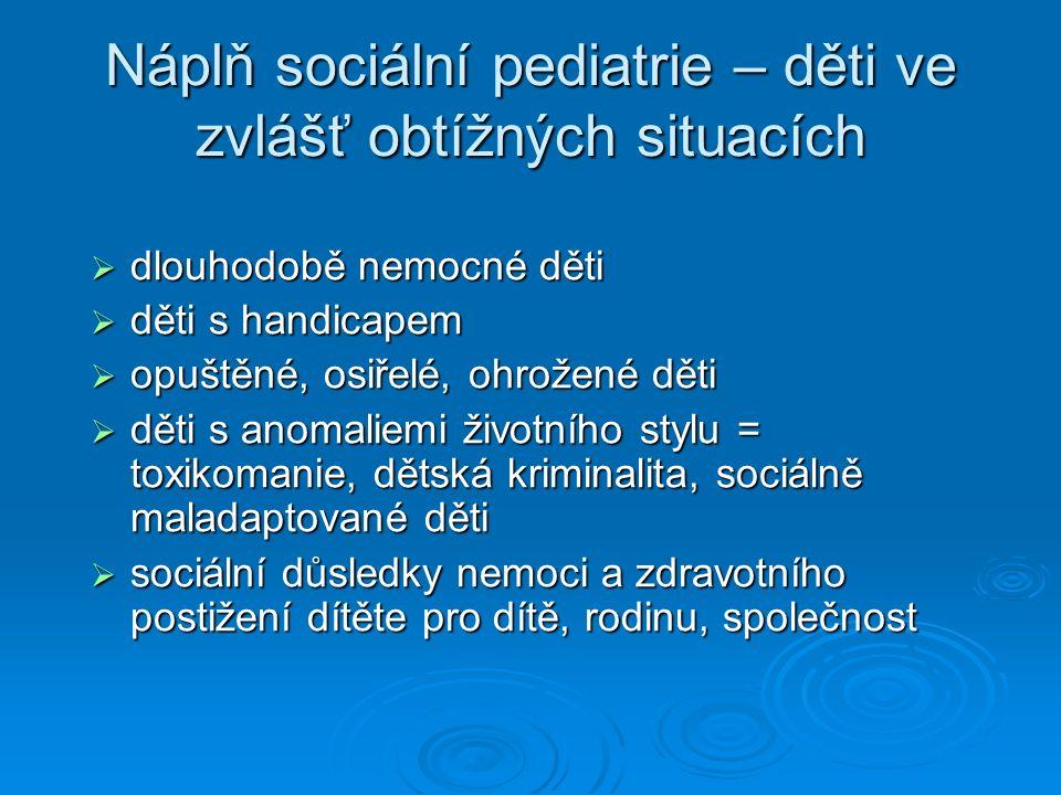 Náplň sociální pediatrie – děti ve zvlášť obtížných situacích  dlouhodobě nemocné děti  děti s handicapem  opuštěné, osiřelé, ohrožené děti  děti s anomaliemi životního stylu = toxikomanie, dětská kriminalita, sociálně maladaptované děti  sociální důsledky nemoci a zdravotního postižení dítěte pro dítě, rodinu, společnost