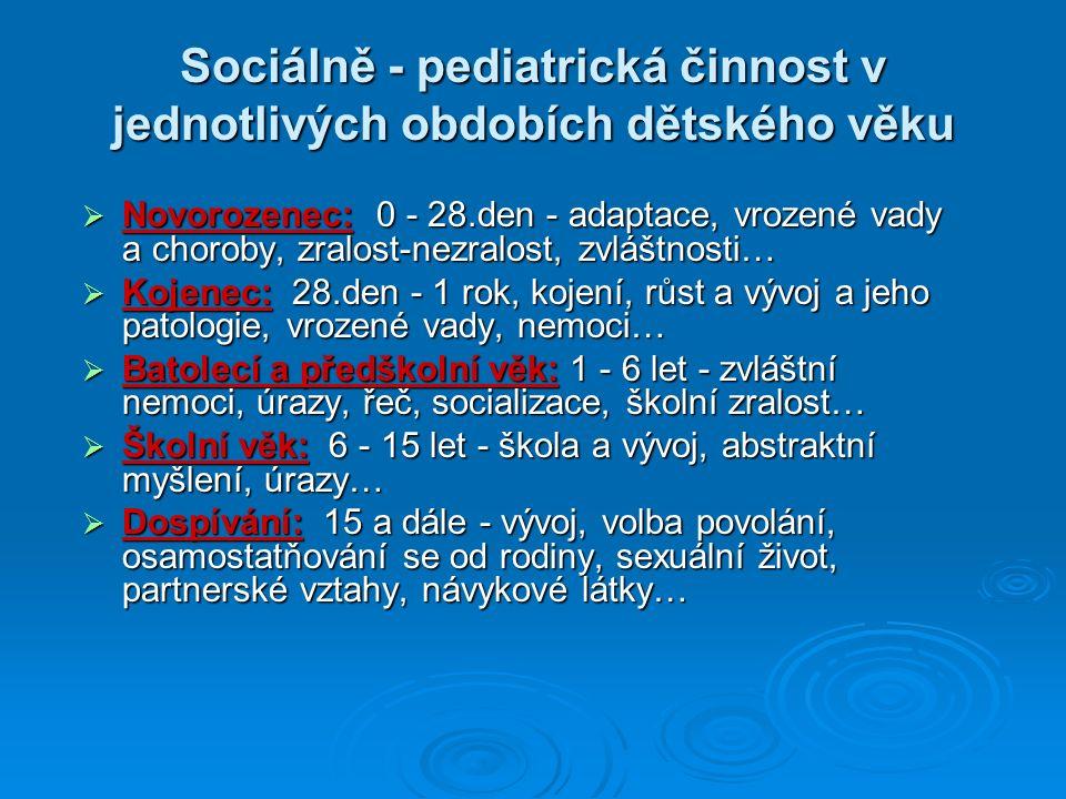 Sociálně - pediatrická činnost v jednotlivých obdobích dětského věku  Novorozenec: 0 - 28.den - adaptace, vrozené vady a choroby, zralost-nezralost, zvláštnosti…  Kojenec: 28.den - 1 rok, kojení, růst a vývoj a jeho patologie, vrozené vady, nemoci…  Batolecí a předškolní věk: 1 - 6 let - zvláštní nemoci, úrazy, řeč, socializace, školní zralost…  Školní věk: 6 - 15 let - škola a vývoj, abstraktní myšlení, úrazy…  Dospívání: 15 a dále - vývoj, volba povolání, osamostatňování se od rodiny, sexuální život, partnerské vztahy, návykové látky…