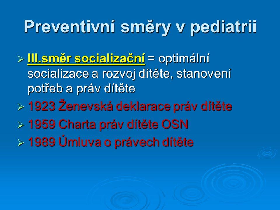 Preventivní směry v pediatrii  III.směr socializační = optimální socializace a rozvoj dítěte, stanovení potřeb a práv dítěte  1923 Ženevská deklarace práv dítěte  1959 Charta práv dítěte OSN  1989 Úmluva o právech dítěte