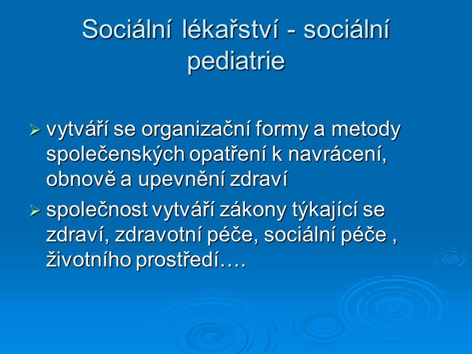 Sociální lékařství - sociální pediatrie  vytváří se organizační formy a metody společenských opatření k navrácení, obnově a upevnění zdraví  společnost vytváří zákony týkající se zdraví, zdravotní péče, sociální péče, životního prostředí….