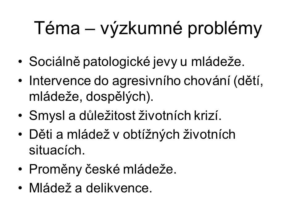 Téma – výzkumné problémy Sociálně patologické jevy u mládeže. Intervence do agresivního chování (dětí, mládeže, dospělých). Smysl a důležitost životní