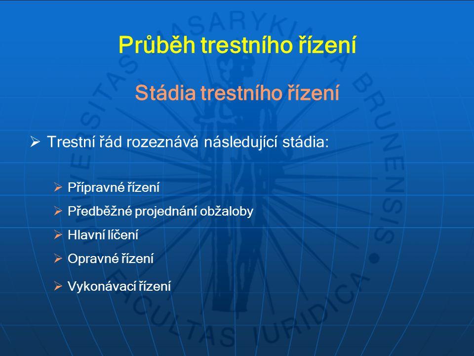  Trestní řád rozeznává následující stádia:  Přípravné řízení  Předběžné projednání obžaloby  Hlavní líčení  Opravné řízení  Vykonávací řízení St