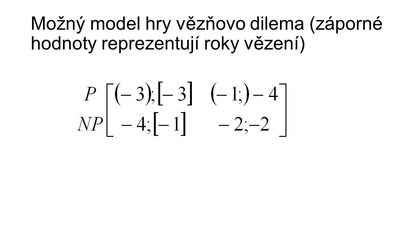 Možný model hry vězňovo dilema (záporné hodnoty reprezentují roky vězení)